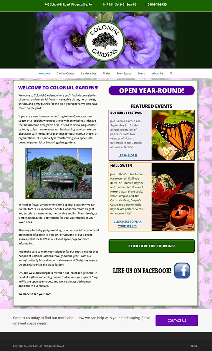 Colonial Gardens website - AFTER