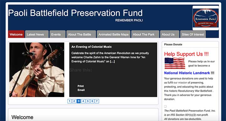 Paoli Battlefield Preservation Fund website before