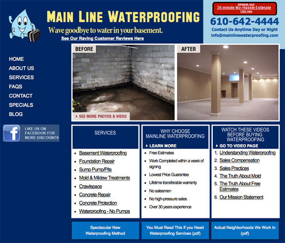 Main Line Waterproofing website - Before