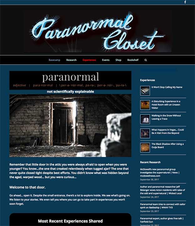 Paranormal Closet website