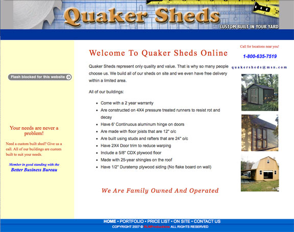 Quaker Sheds website - before