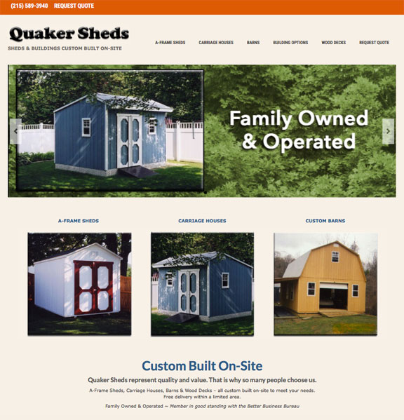 Quaker Sheds website - After